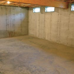 A cleaned out basement in Reynoldsburg, shown before remodeling has begun