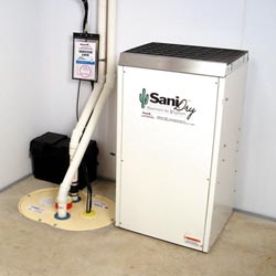 An ENERGY STAR® Rated basement dehumidifier installed in a home in Westerville
