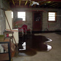 A flooded basement showing groundwater intrusion in Delaware