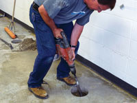 Coring the concrete of a concrete slab floor in Zanesville