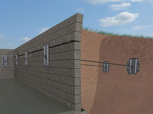 A graphic illustration of a foundation wall system installed in Etna