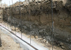 Soil layers exposed while excavating to construct a new foundation in Columbus