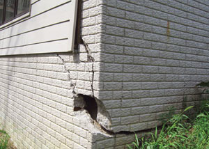 A severely damaged foundation wall in Mansfield