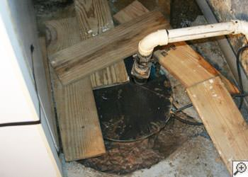 An ugly, clogged sump pump system in Springfield, Ohio