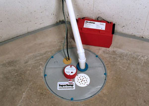 A sump pump system with a battery backup system installed in Etna
