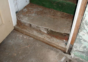 A flooded basement in Mount Vernon where water entered through the hatchway door