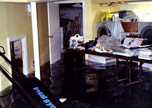 A laundry room flood in Athens, with several feet of water flooded in.