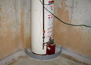 A water heater in Grove City that's been protected by the FloodRing® and a perimeter drain system.